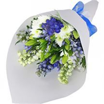 Fresh blue and white #flowers. Send a Blue Melody #Bouquet from http://www.flyingflowers.co.nz/blue-melody