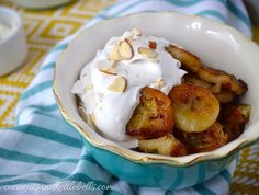 This quick and simple banana coconut cream bowl recipe combines pan fried bananas with coconut cream made from coconut milk. So delicious, and so easy!