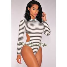 NWT Bodysuit HOT MIAMI STYLES NEW WITH TAGS! Trendy striped bodysuit. Perfect for a night out. Open back, long sleeves, has a center back gold zipper, snap-button gusset closure and stretchy. Bought it on hotmiamistyles.com but it was too big on me. ⚡️OFFERS WELCOME⚡️ XTaren Tops