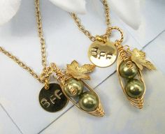 Best Friends Two Peas in a Pod Gold Necklaces by Kikiburrabeads, $32.00