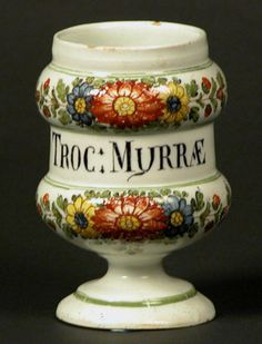 Drug jar 1770-1800. One of a set of three late 18th Century Northern Italian drug jars inscribed 'TROC MURRÆ'.