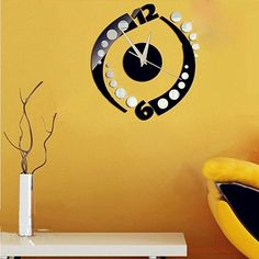 Rotation Clock Wall Sticker Home Decoration Design DIY Wall Stickers Home Decoration Removable Vinyl Wall stickers Art Decals #Affiliate
