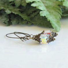 Swarovski Cube Crystal Earrings Brass Earrings Victorian Edwardian Neo Victorian Trending Jewelry by Ctbydonna on Etsy