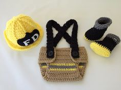 Baby Firefighter Fireman Yellow Hat Outfit - 4pc Crochet Diaper Cover Set w/Suspenders & Boots - Photography Prop - Newborn - 0-3 - 3-6 by TimelessCrochetCraft on Etsy