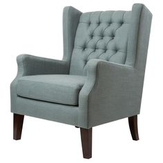 Relax comfortably in any room with this blue wingback chair. This Maxwell Lillian chair features an elegant button-tufted wingback style that complements most home decors. The cushioned seat made from