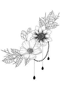Dessin Tatouage fleurs diy tattoo images - tattoo images drawings - tattoo images women - t B Tattoo, Leg Tattoos, Body Art Tattoos, Sleeve Tattoos, Waist Tattoos, Horse Tattoos, Flash Tattoo, Celtic Tattoos, Lion Tattoo