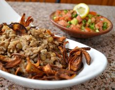 Mujadara..lentil spice rice with carmelized onions