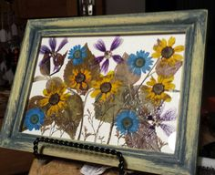 Real Pressed Flowers on 5 x 7 Framed Canvas by FlowerFelicity, $25.99