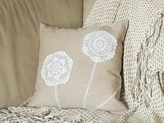 Cream Ecru Pillow Cover With Crocheted Doily Applique OOAK Shabby chic decorative accent pillow