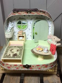 Mouse Cottage, Crowe Hall. Afternoon tea with Maileg's Sleepy Wakey Mouse . A very detailed diorama with lots of play value.