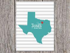 Texas Wedding Gift Striped Background DIGITAL FILE by aprintaffair, $16.00
