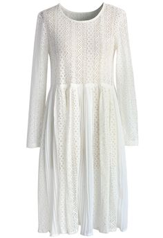 Ethereal Pleated White Lace Dress - summery broderie anglaise