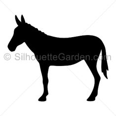 Mule silhouette clip art. Download free versions of the image in EPS, JPG, PDF, PNG, and SVG formats at http://silhouettegarden.com/download/mule-silhouette/