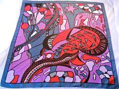 Mod Scarf, Aquatic Psychedelic Print, Purple Red Gray, German Grisuten Handdruk, 1960s Swimwear