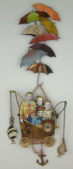Living a Boy's Adventure Tale/mixed media assemblage. I don't know what is but I like it.