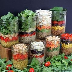 Salad in a Jar Recipes. These look awesome! I gotta get me some mason jars!!! ;)