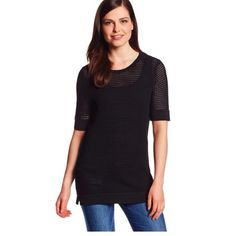 Calvin Klein short-sleeved modern stitch sweater This is a beautifully made black open stitch sweater. Brand new, with tags. Calvin Klein Tops
