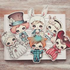 Alice in Wonderland set of bookmarks by ribonitachocolat on Etsy
