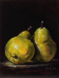 Green Pears Original Oil Painting by Nina R.Aide Still Life Canvas 8x6 Classic Art Fruit Chiaroscuro by NinaRAideStudio on Etsy
