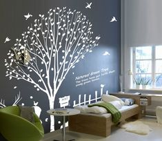 Each Forests Wall Decal is made of high quality, self-adhesive and waterproof vinyl. Our vinyl is rated to last 5 years outdoors and virtually forever indoors. Decals can be applied to any clean, smoo Tree Decal Nursery, Baby Room Wall Decals, Tree Decals, Nursery Room Decor, Wall Stickers, Wall Decor Design, Home Wall Decor, Tree Wall Murals, Bedroom Murals