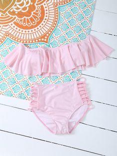 Padded Ruffles Top With Cutout Briefs Bikini - PINK M