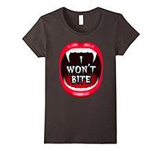 I Won't Bite Vampire Fangs Lip Happy Halloween Spirit Tshirt - Available here: http://amzn.to/2f3D4zp #halloween #halloweenshirt #halloweentshirt #Halloweenfestival #holiday
