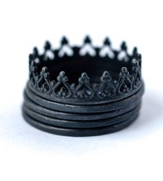 Oxidized Sterling Silver Crown & Stacking Rings – Set of 5 by Lovegem Studio on Scoutmob Shoppe. Oxidized is the new black with this crown ring atop 4 skinny stacking rings. One ring to rule them all, you might say.