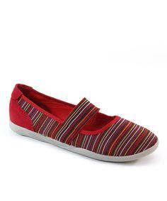 Italina Red & Orange Stripe Elastic Gore Flat | zulily