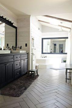 DIY modern farmhouse bathroom makeover from a 1980's time capsule.