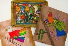 Amate inspired art projects by first grade