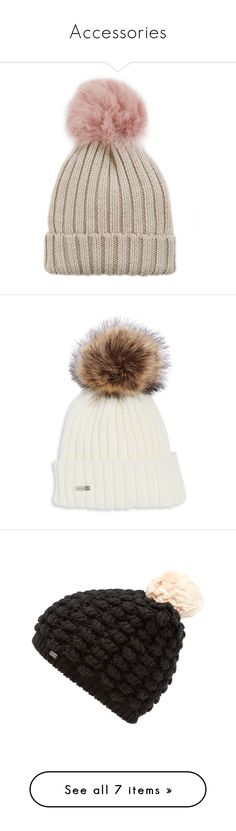 """""""Accessories"""" by meryfern ❤ liked on Polyvore featuring accessories, hats, beanies, pom pom beanie hat, shearling hats, beanie hat, pink hat, pink beanie hat, faux fur pom pom beanie and faux fur hat"""