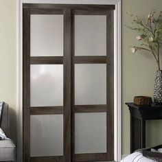 Bring contemporary flair to your home with this Baldarassario 3 Lite 2 Panel MDF Sliding Interior Door. The frame of this door is made of high-quality laminated wood, which ensures strength and durability Glass Barn Doors, Wood Doors, Entry Doors, Patio Doors, Front Entry, Wood Shutters, Panel Mdf, Laundry Room Doors, Barn Style Doors