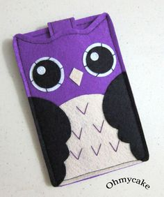 """iPhone Case - Cell Phone Case - iPhone 4 Case - iPod Case - iPod Touch Case - Handmade iPhone Felt Case - """" Kawaii Owl """" Design"""