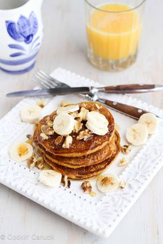 """Whole Wheat Oat Gingerbread Pumpkin Pancakes - Voted """"best ever pancakes"""" by my family."""