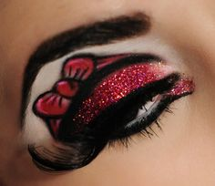 Minnie Mouse inspired makeup.