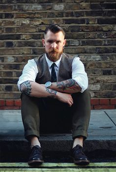smaller red beard and mustache beards bearded man men mens' style dressy dapper suit tie tattoos tattooed hair hairstyle ginger #sharpdressedman #goodhair