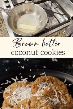 These AMAZING brown butter coconut cookies are a chewy cookie made with brown butter for a rich nutty flavor. Crisp on the outside and chewy on the inside, the perfect cookie for a coconut lover. Brown Butter Cookies, Coconut Cookies, Cookie Recipes, Dessert Recipes, Afternoon Tea Recipes, Perfect Cookie, Baggage, Crisp, Sweet Treats