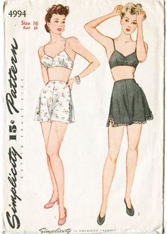 Simplicity 4994 ©1940s Bust 32 Waist 26 1/2 Hips 35 Vintage lingerie pattern, lovely 1940s bra and panties. Pattern is complete and in