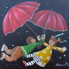 Ombrelli rossi, acrilico su tela