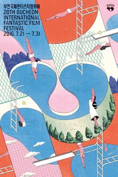 Poster for Bucheon International Fantastic Film Festival. Art direction and design: Jaemin Lee. Abstract Illustration, Illustration Design Graphique, Vintage Illustration, Art Graphique, Graphic Illustration, Korean Illustration, Digital Illustration, Dm Poster, Poster Design