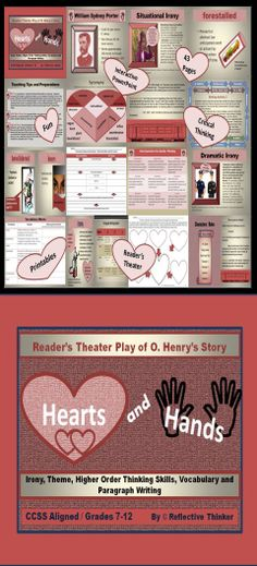 """This CCSS aligned, 43-slide PowerPoint resource is an engaging and fun reader's theater of O. Henry's short story """"Hearts and Hands"""" for Grades 7-12. The resource provides practice with character analysis, critical thinking, drawing conclusions, theme, irony, and paragraph writing.  Includes printables, literacy center tasks ideas, writing activities and much more. Good for test prep.  #CCSS #middleschool #highschool"""