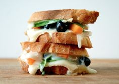 Grilled Cheese Social: The Stamford Sweethearts - goats brie, blueberries, apricots, honey, and basil on french bread