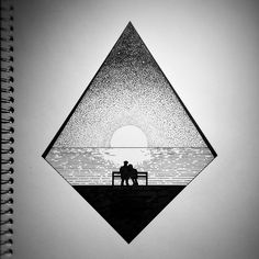 REUNITED // Pen Ink Drawing of sunset reflection over water. REUNITED // Pen Ink Drawing of sunset reflection over water. Dotted Drawings, Pencil Art Drawings, Art Sketches, Black Pen Sketches, Art And Illustration, Ink Illustrations, Black Pen Drawing, Charcoal Drawing, Drawing Sunset