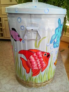 20 Gallon Hand Painted Trash Can - krystasinthepointe.com - ETSY - $129.00