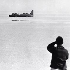 Donald Campbell in Bluebird CN7 Proteus at Lake Eyre, South Australia in 1964 (Getty)...