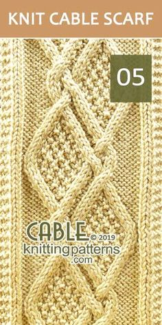 Moss Diamonds Cable Scarf Pattern 05, its FREE. Intermediate knitter and up.