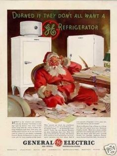 "General Electric refrigerators featured in Ladies' Home Journal showing Santa Claus sitting amid a pile of Santa letter requests as the title of page reads, ""Durned If They Don't All Want A Refrigerator. Slate Appliances, Vintage Appliances, Home Appliances, Bosch Appliances, Vintage Santas, Vintage Holiday, Vintage Advertisements, Vintage Ads, Christmas Ad"