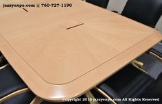 Maryland Executive Conference Table in Light Maple. See the lovely sunburst pattern on the end of the conference table.