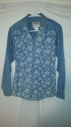Womens Wrangler Western Wear Blue Denim Look Floral L/S Button Up Blouse Medium  #Wrangler #Blouse