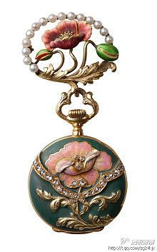 ART NOUVEAU VACHERON LADY'S 18K YELLOW GOLD ENAMEL, PEARL AND DIAMOND-SET PENDANT WATCH